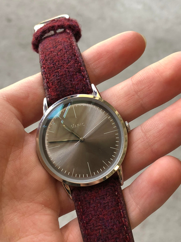 Vario Eclipse watch with Harris Tweed strap