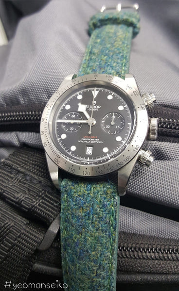 tudor watch on harris tweed strap
