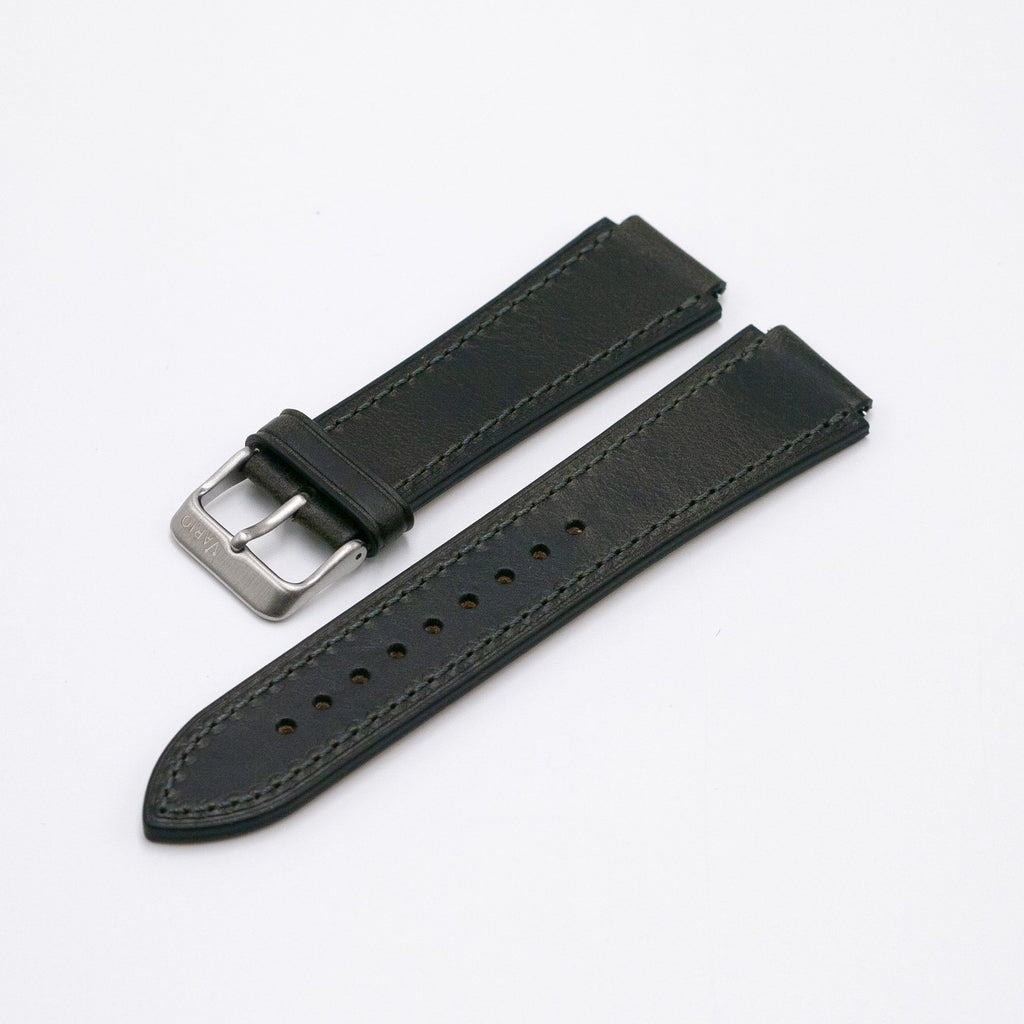 Oiled Leather Graphite Black Watch Strap for Casio AE1200WH World Time Watch