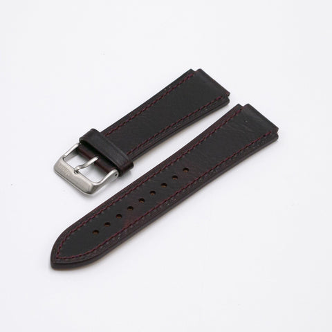 Oiled Leather Merlot Red Watch Strap for Casio AE1200WH World Time Watch