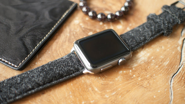apple watch with vario harris tweed black strap