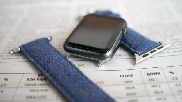 apple watch with vario blue harris tweed strap