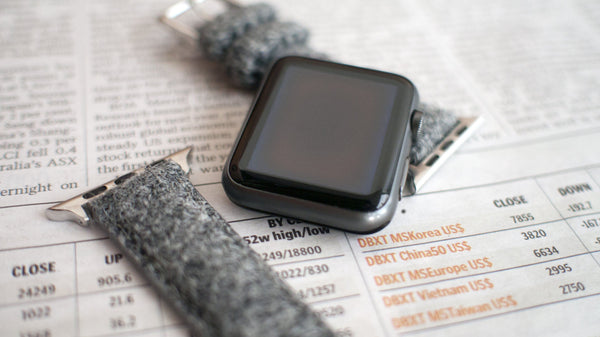 apple watch with vario grey harris tweed strap