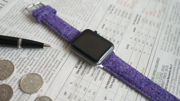 apple watch with vario harris tweed purple strap
