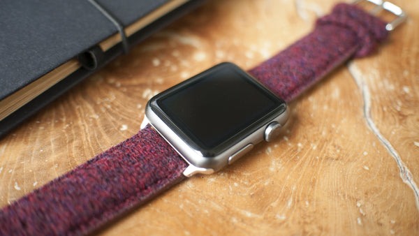 apple watch with vario harris tweed red strap