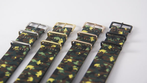 camo green with silver/gold/rose gold/black buckles
