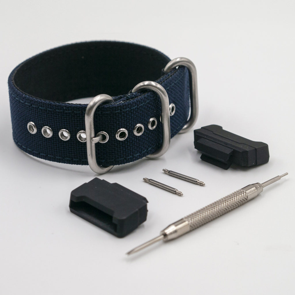 Cordura Navy Blue Zulu Watch Strap with G-Shock Nato Adapter and Spring Bar Tool