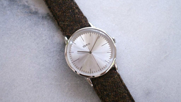 eclipse 38mm silver dress watch with harris tweed strap