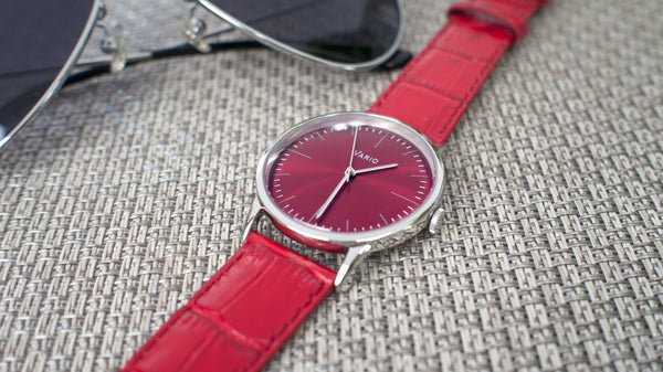 eclipse red dial with zrc alligator grain watch strap