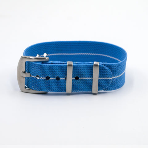 vario elastic nylon nato strap blue and white