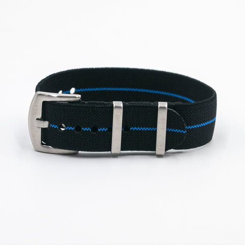 vario elastic nylon nato strap black and blue