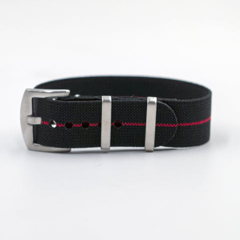 vario elastic nylon strap black and red