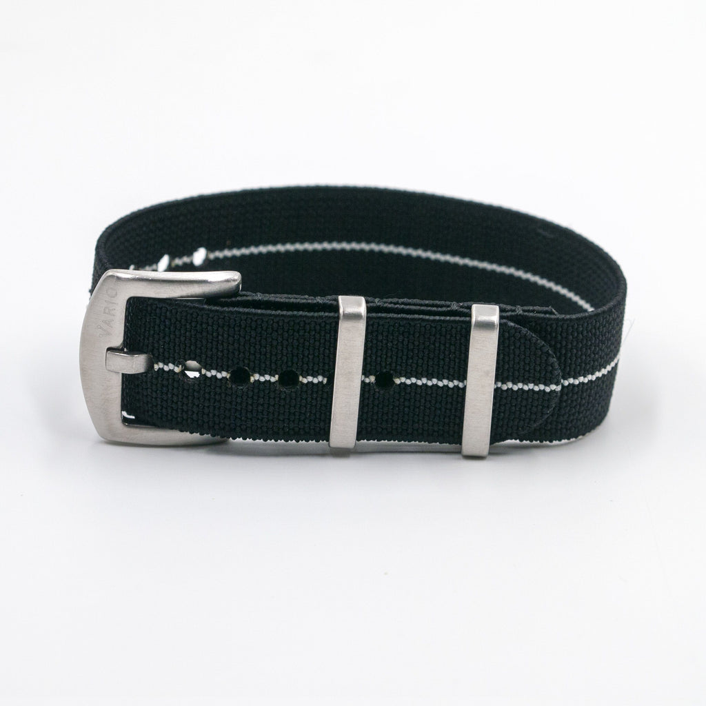 vario elastic nylon nato strap black and white