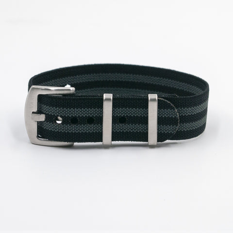 vario elastic nylon nato watch strap bond black and grey