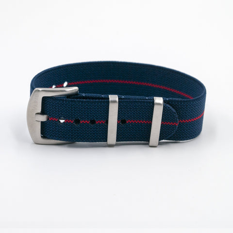 vario elastic nylon nato strap blue and red