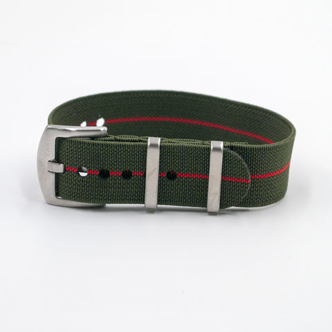 vario elastic nylon nato strap green and red