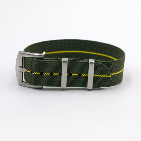 vario elastic nylon nato strap green and yellow