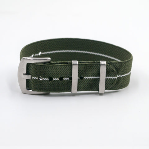 vario elastic nylon nato strap green and white