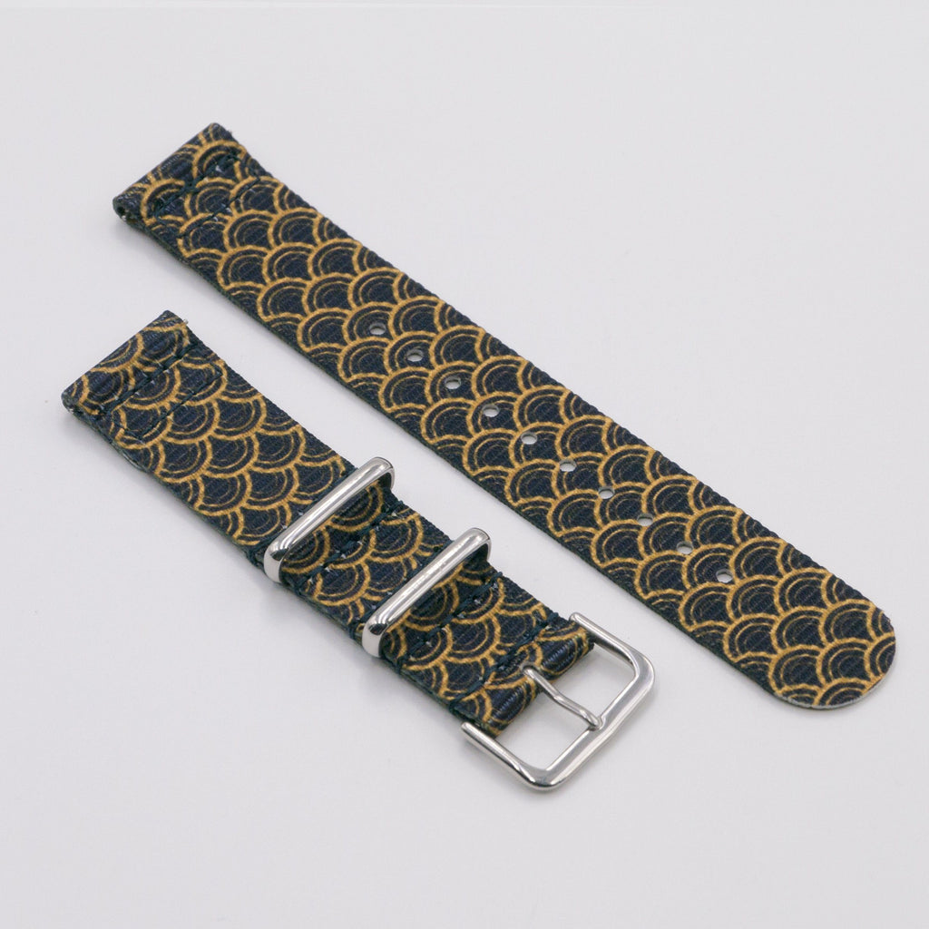 vario golden serpent black graphic nato strap for smart watch