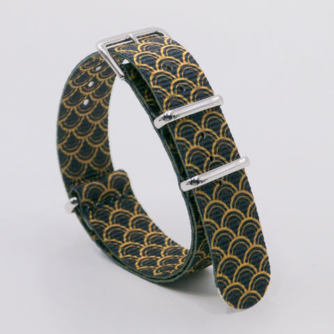 vario golden serpent black graphic nato strap