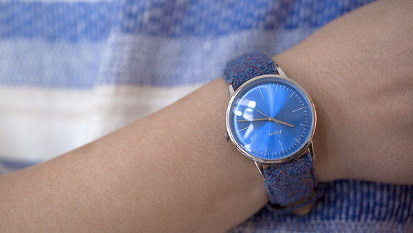 eclipse blue dress watch double dome sapphire with harris tweed strap