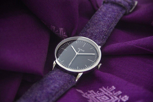 eclipse black dress watch double dome sapphire with harris tweed strap