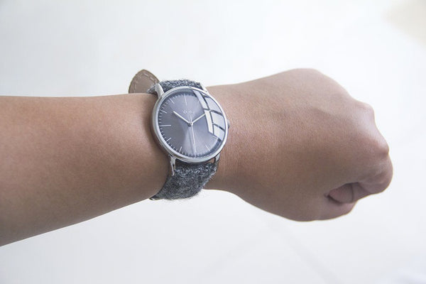 vario eclipse grey vintage dress watch with harris tweed strap