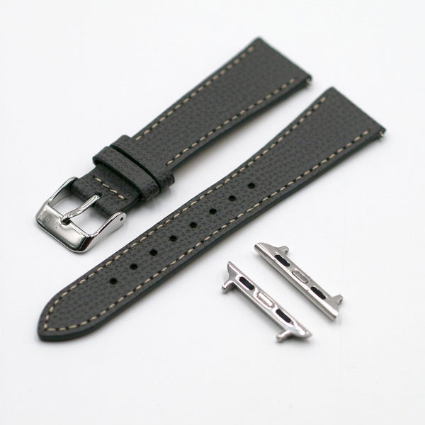 Vintage Epsom Italian Leather Pewter Grey Watch Strap for Apple Watch