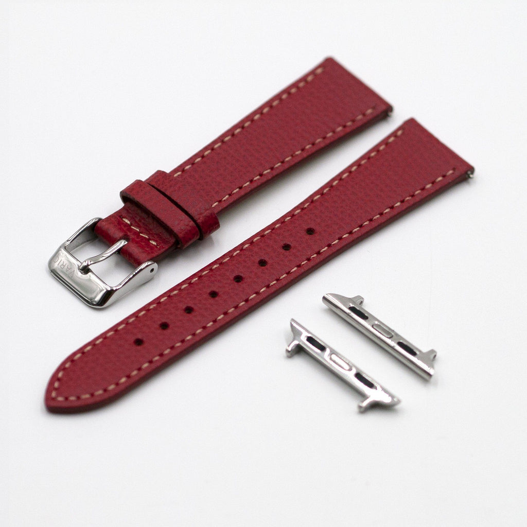 Vintage Epsom Italian Leather Scarlet Red Watch Strap for Apple Watch