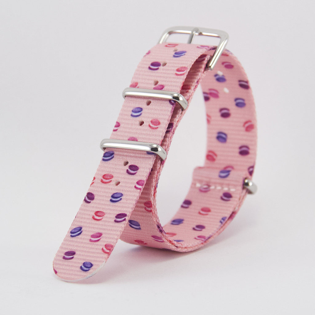 vario macaron dots graphic nato strap vegan friendly