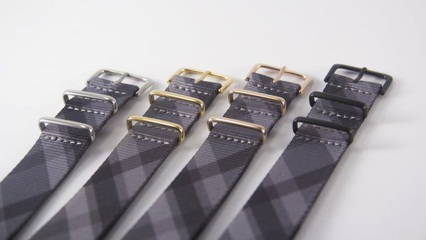 mono plaid with silver/gold/rose gold/black buckles