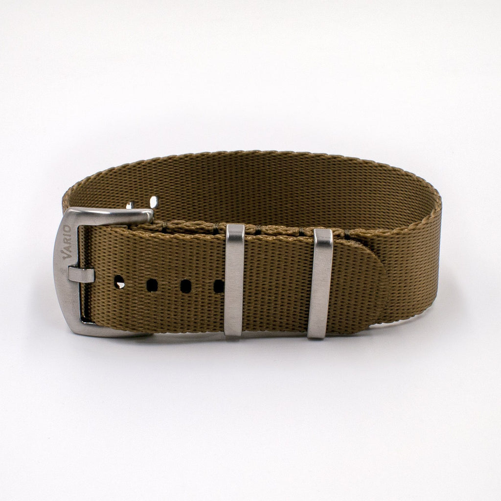 Vario Seat Belt Single Pass Nato Watch Strap Khaki Brown