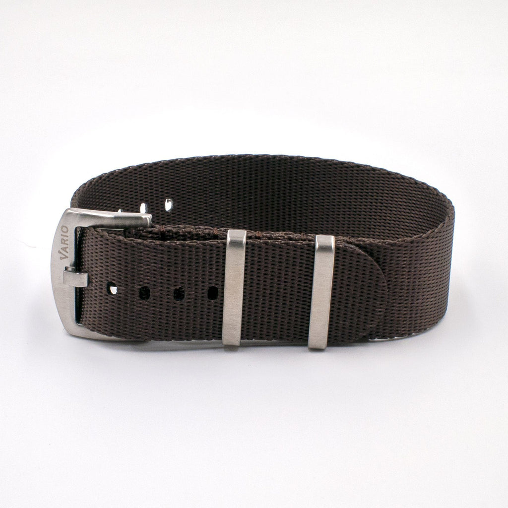 Vario Seat Belt Single Pass Nato Watch Strap chocolate brown