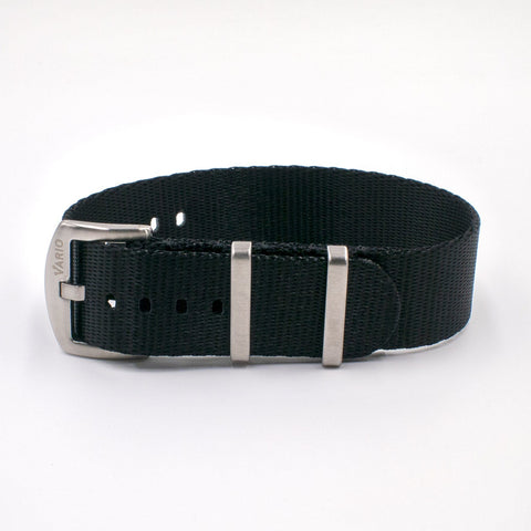 Vario Seat Belt Single Pass Nato Watch Strap coal black
