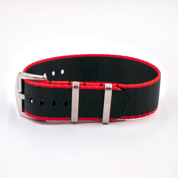 Vario Seat Belt Single Pass Nato Watch Strap black and red