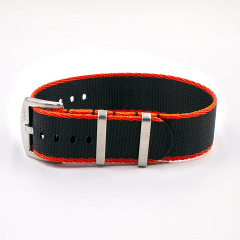 Vario Seat Belt Single Pass Nato Watch Strap black and orange