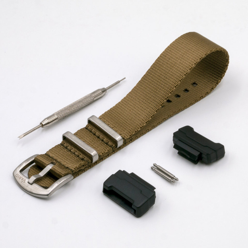 Seat Belt Khaki Brown Watch Strap with G-Shock Nato Adapter and Spring Bar Tool
