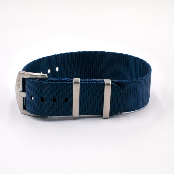 Vario Seat Belt Single Pass Nato Watch Strap navy blue