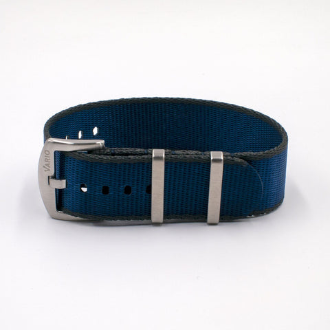 Vario Seat Belt Single Pass Nato Watch Strap blue and grey