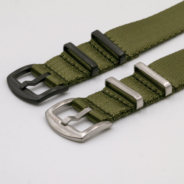 Vario Seat Belt Single Pass Nato Watch Strap black and silver buckle