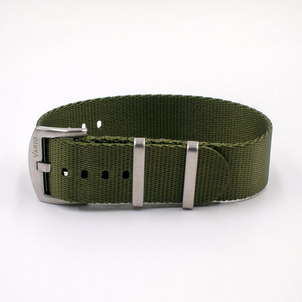 Vario Seat Belt Single Pass Nato Watch Strap olive green