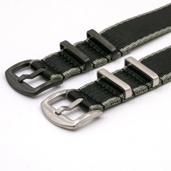 vario gshock seat belt nato adapter kit black and grey stripe silver and black buckle