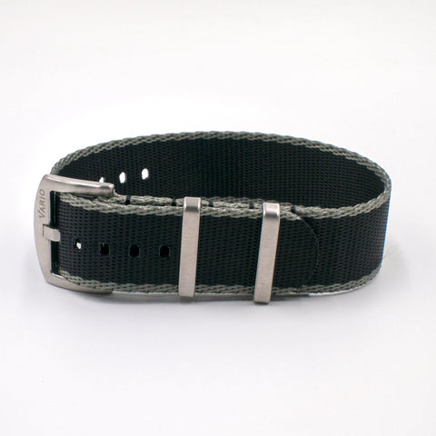 Vario Seat Belt Single Pass Nato Watch Strap black and grey