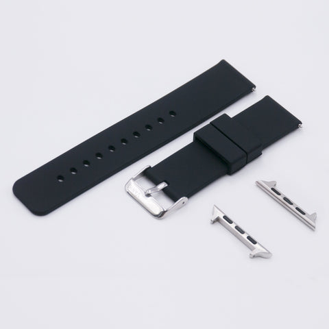 vario black quick release silicone rubber watch strap for apple watch