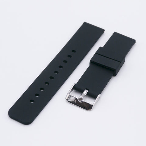 vario black quick release silicone watch strap