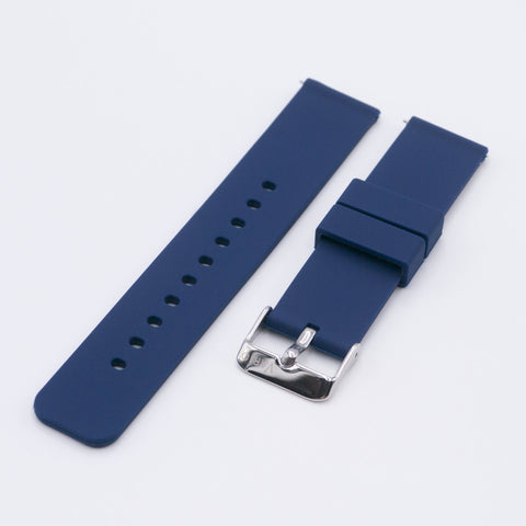 vario navy blue silicone rubber watch strap