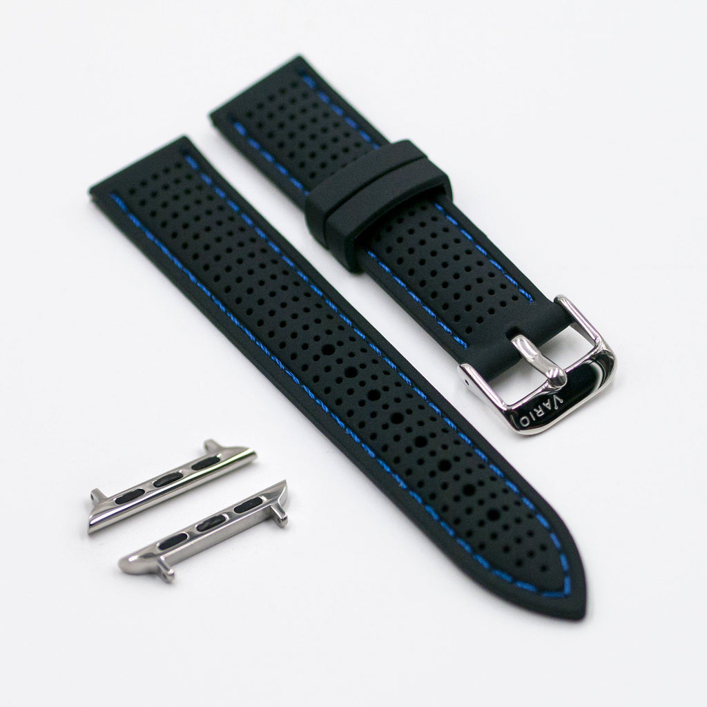 vario perforated silicone watch strap with blue stitching for apple watch