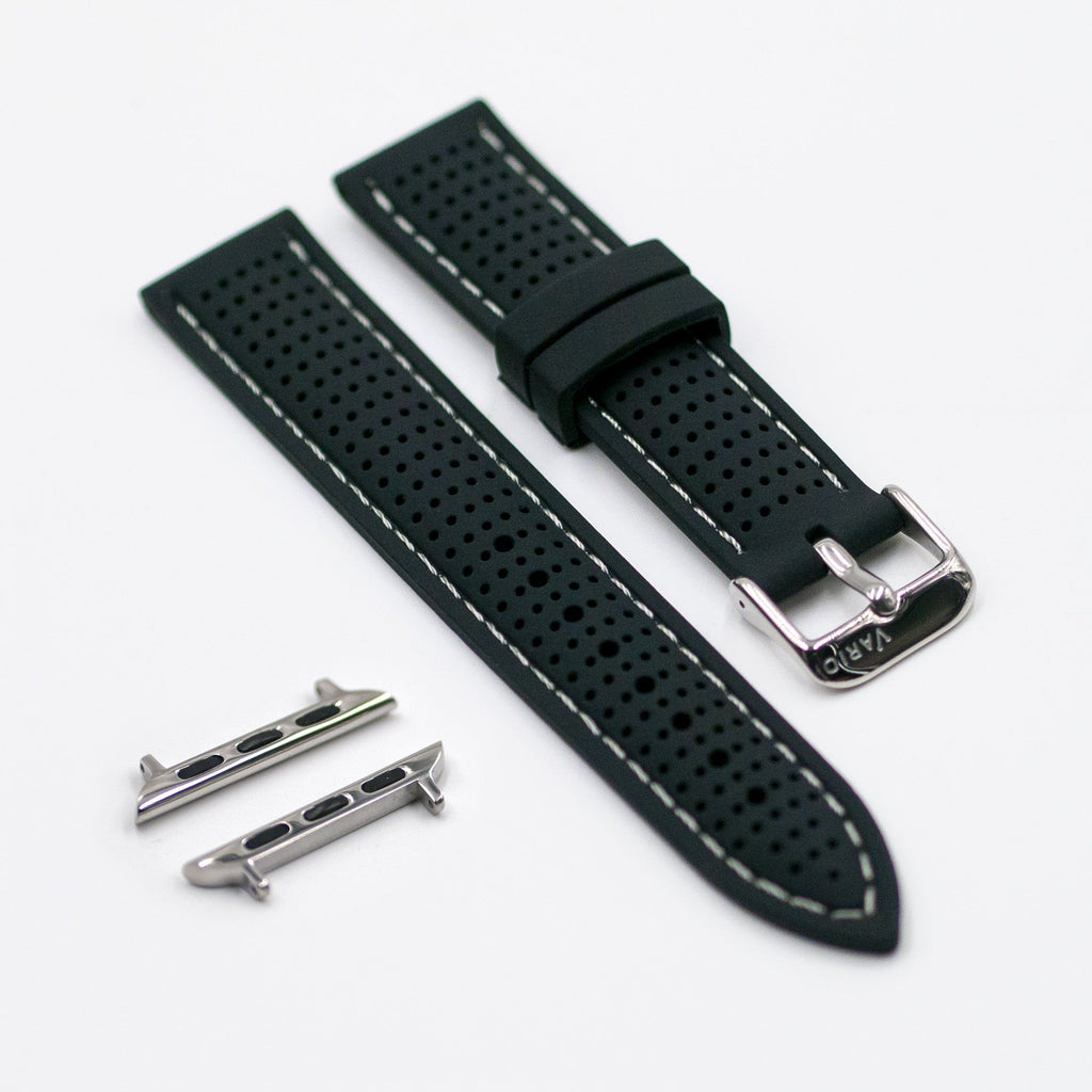 vario perforated silicone watch strap with light grey stitching for apple watch
