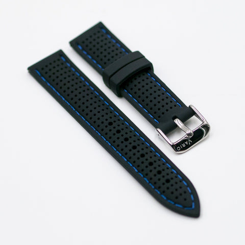 vario perforated silicone watch strap with blue stitching