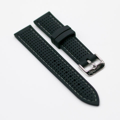 vario perforated silicone watch strap with dark grey stitching